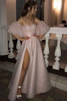 Floor-length Sweetheart Off-the-shoulder Front Slit Pink A-line Prom Dresses_2
