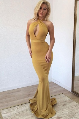 Mermaid Sexy Golden Halter Sleeveless Prom Dresses_1