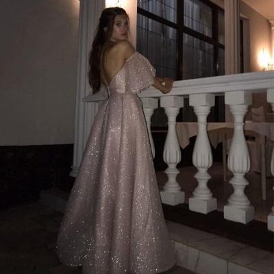Floor-length Sweetheart Off-the-shoulder Front Slit Pink A-line Prom Dresses_1