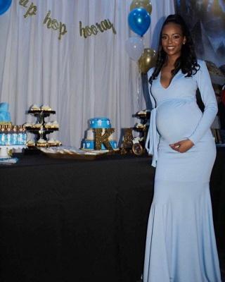 Elegant Sheath V-neck Long-sleeve Floor-length Prom Dresses_2