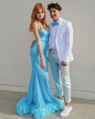 Sweetheart Sequined Spaghetti-strap Sexy Mermaid Sky-blue Prom Dresses_2