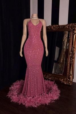 Unique Halter Sequiend Sheath Floor-length Red Sequined Prom Dresses_1