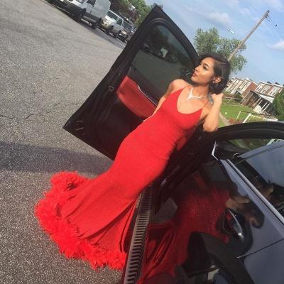 Unique Halter Sequiend Sheath Floor-length Red Sequined Prom Dresses_4