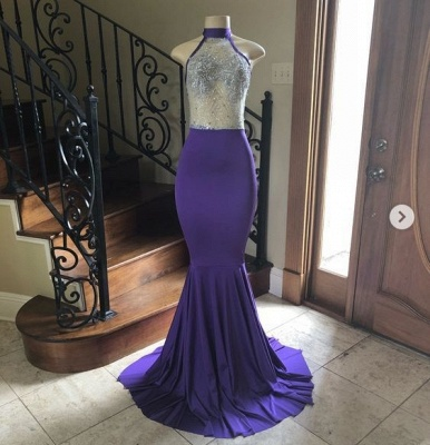 Mermaid Halter Floor-length Royal-blue Sexy Sequined Prom Dresses_2
