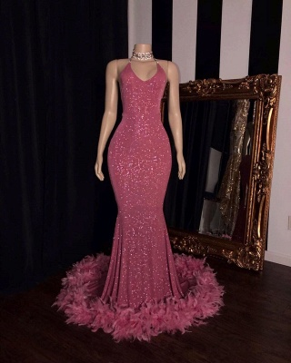 Unique Halter Sequiend Sheath Floor-length Red Sequined Prom Dresses_3