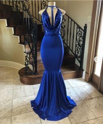 Floor-length Royal-blue Sequined Halter Mermaid Prom Dresses_2