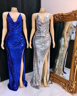 Halter Front-slit Amazing Floor-length Sheath Sequined Prom Dresses_2