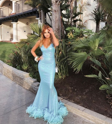Sweetheart Sequined Spaghetti-strap Sexy Mermaid Sky-blue Prom Dresses_3