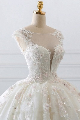 Gorgeous Jewel Cap Sleeve Flower Lace Ball Gown Wedding Dress | Ruffles Bridal Gown_4