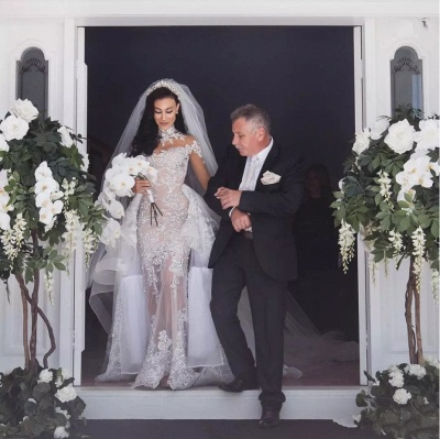 Luxury High Neck Long Sleeves Appliques Tulle Wedding Dresses Detachable Train_5