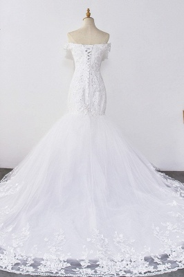 Amazing Off  The Shoulder Beading Lace Fit and Flare Mermaid Wedding Dresses_2