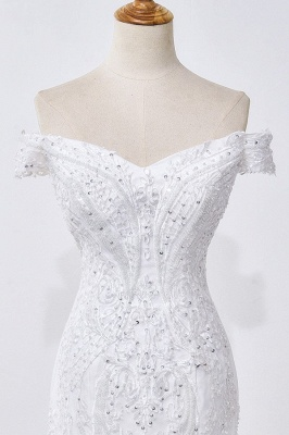 Amazing Off  The Shoulder Beading Lace Fit and Flare Mermaid Wedding Dresses_4