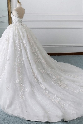 Gorgeous Jewel Cap Sleeve Flower Lace Ball Gown Wedding Dress | Ruffles Bridal Gown_2