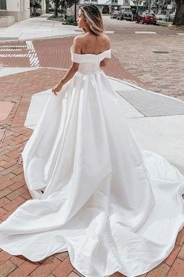 V-neck Off-the-shoulder Graceful A-line Wedding Dress With-belt_2