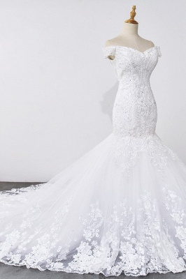 Amazing Off  The Shoulder Beading Lace Fit and Flare Mermaid Wedding Dresses_6