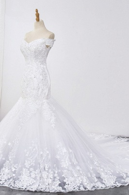 Amazing Off  The Shoulder Beading Lace Fit and Flare Mermaid Wedding Dresses_3