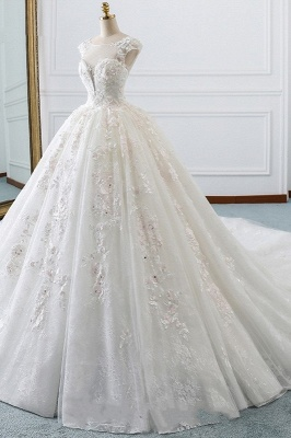 Gorgeous Jewel Cap Sleeve Flower Lace Ball Gown Wedding Dress | Ruffles Bridal Gown_3