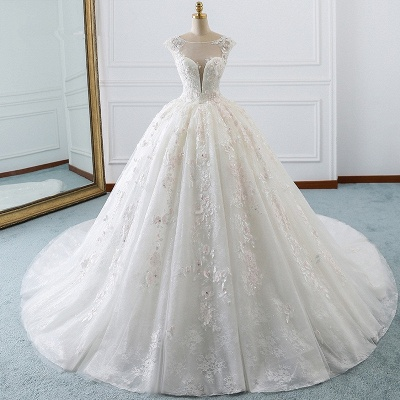Gorgeous Jewel Cap Sleeve Flower Lace Ball Gown Wedding Dress | Ruffles Bridal Gown_5