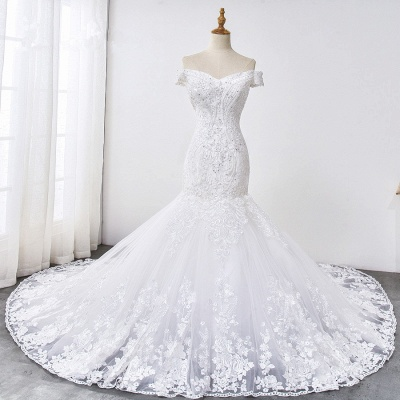 Amazing Off  The Shoulder Beading Lace Fit and Flare Mermaid Wedding Dresses_7