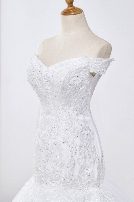 Amazing Off  The Shoulder Beading Lace Fit and Flare Mermaid Wedding Dresses_5
