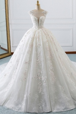 Gorgeous Jewel Cap Sleeve Flower Lace Ball Gown Wedding Dress | Ruffles Bridal Gown_1