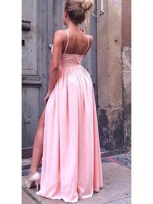 Hot Pink Spaghetti Strap Slit A Line Bridesmaid Dresses For Wedding_2