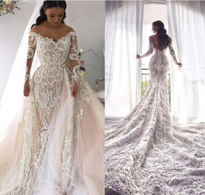 Lace V Neck Overskirt Mermaid Wedding Dresses | Long Sleeve Bridal Gown_2