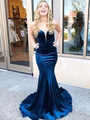 Dark Blue Velvet Criss-cross Back Mermaid Prom Dresses_1