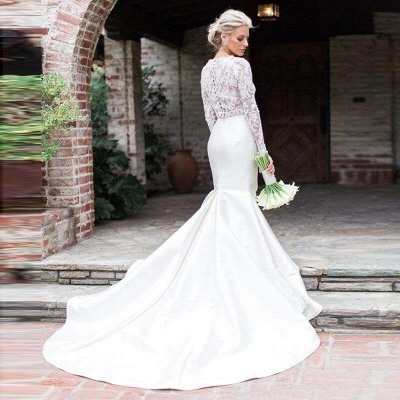 Elegant Long Sleeve Lace Mermaid Wedding Dresses | Fit And Flare Wedding Gown_2