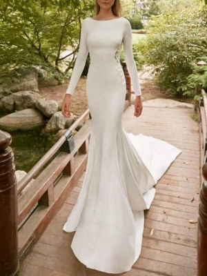 Sexy Mermaid Satin Wedding Gowns Long Sleeves Lace Bridal Wears_1