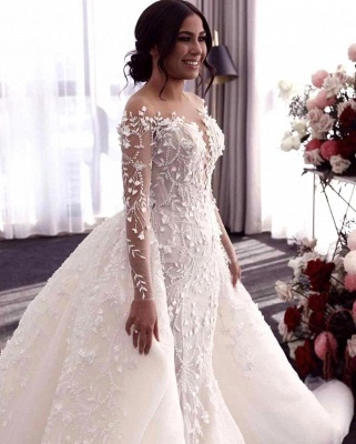 Hot Flower Lace Wedding Gowns Long Sleeves Mermaid with train_3