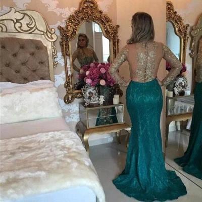 Green Long Sleeves Prom Dresses Pearls Memraid  with split_2