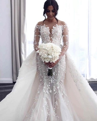 Hot Flower Lace Wedding Gowns Long Sleeves Mermaid with train_1