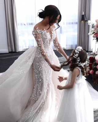Hot Flower Lace Wedding Gowns Long Sleeves Mermaid with train_2
