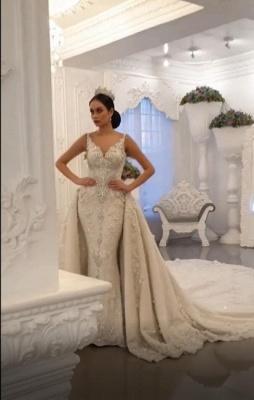 Luxury V Neck Strapless Lace Mermaid Wedding Dresses_3