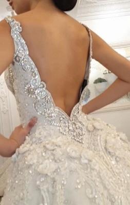 Luxury V Neck Strapless Lace Mermaid Wedding Dresses_2