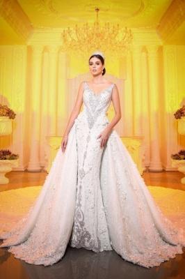 Luxury V Neck Strapless Lace Mermaid Wedding Dresses_1