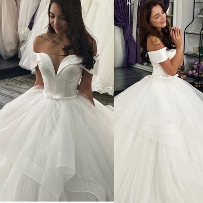 Cheap Off the Shoulder Satin White A Line Wedding Dresses