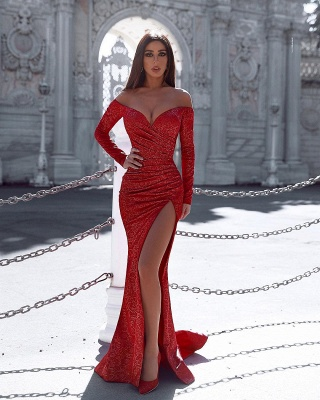 Burgundy Mermaid Evening Gown with Sleeves Splitfront Sexy Party Dress_2