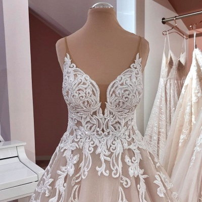 Cheap Lace Tulle Floor Length Wedding Gowns Backless_5