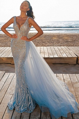 Elegant V-Neck Slim Prom Party Gowns with Detachable Train Mermaid Evening Dress_2