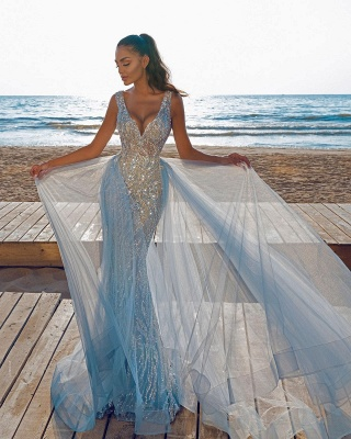 Elegant V-Neck Slim Prom Party Gowns with Detachable Train Mermaid Evening Dress_3