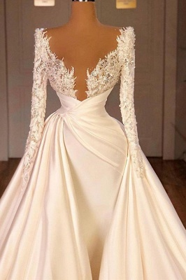 Off the Shoulder Sequined Fur Satin Wedding Party Gown Sleeveless/Long Sleeves styles_2