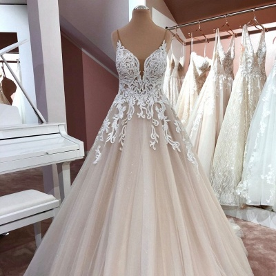 Cheap Lace Tulle Floor Length Wedding Gowns Backless_2