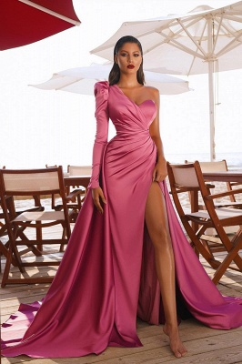 One Shoulder Satin Side Split Evening Maxi Gowns with Sweep Train_2