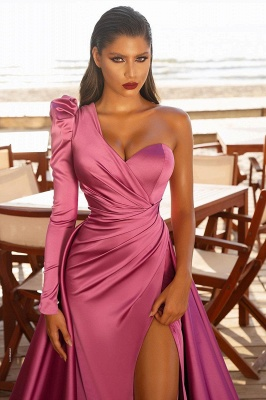 One Shoulder Satin Side Split Evening Maxi Gowns with Sweep Train