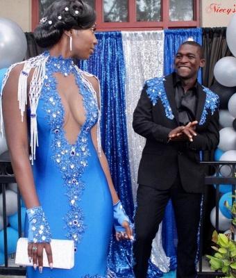 Satin Halter V-Neck Mermaid Evening Gowns Sleeveless Crystals Prom Dress Sweep Train_4
