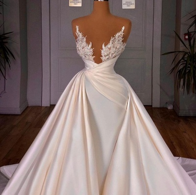 Off the Shoulder Sequined Fur Satin Wedding Party Gown Sleeveless/Long Sleeves styles_4