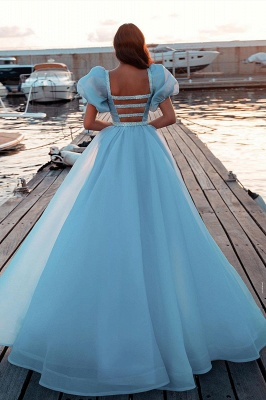 Sky Blue Princess Mermaid Evening Gowns with Sweep Train Short Sleeve Party Gowns_2