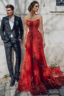 Sweetheart Floral Partten Evening Gown Floor Length Tulle Party Dress_2